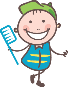 Kid with toothbrush graphic